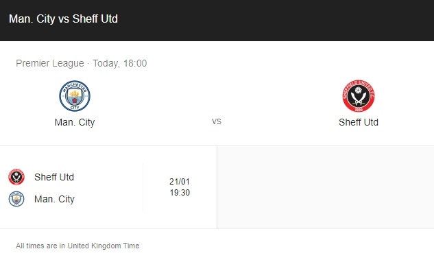 Manchester City vs Sheffield United Preview & info