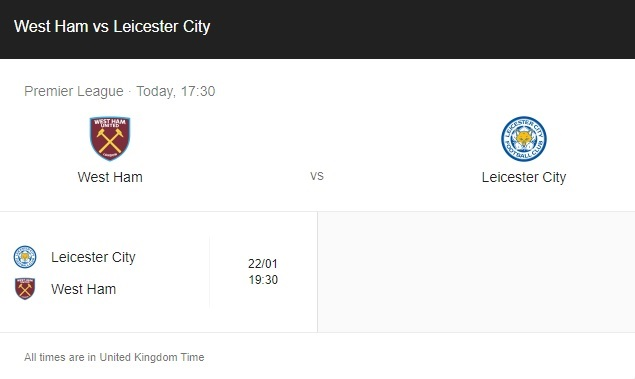 West Ham vs Leicester City Preview & Live info