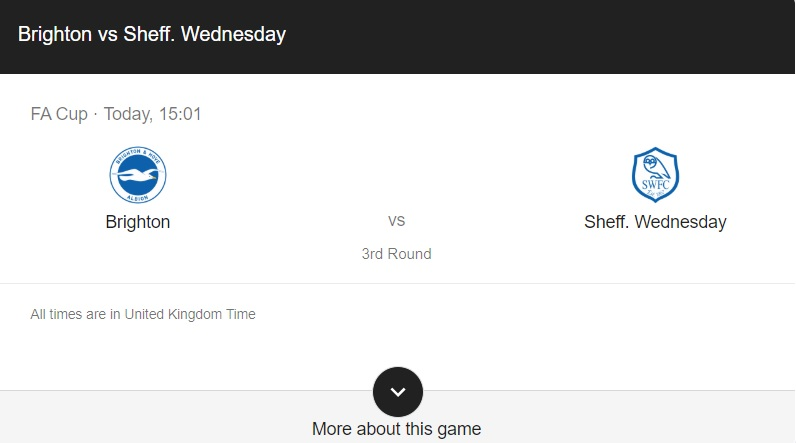 Brighton vs Sheff Wednesday Preview & info