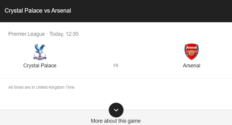 Crystal Palace vs Arsenal Preview & Info
