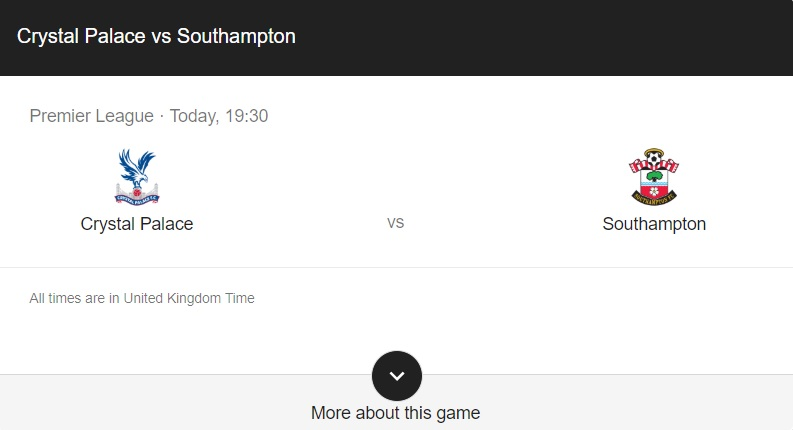 Crystal Palace vs Southampton Preview & Info