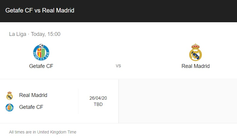 Getafe vs Real Madrid Preview & Info