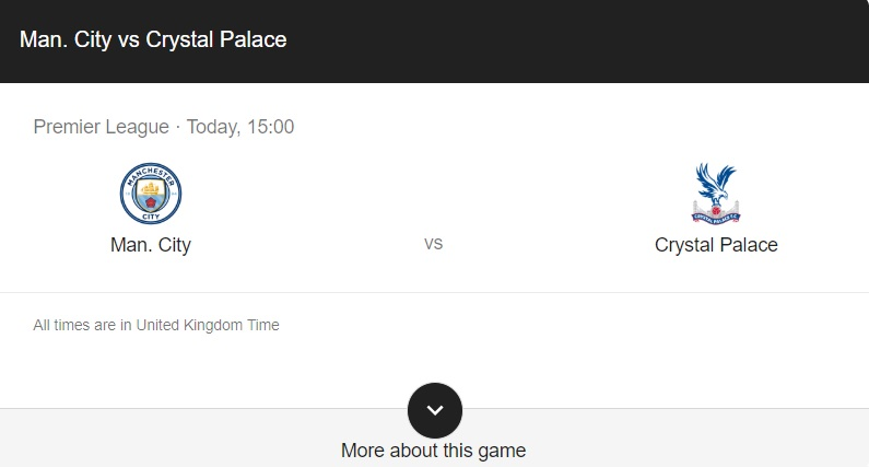 Manchester City vs Crystal Palace Preview & Info