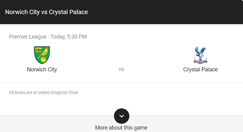 Norwich vs Crystal Palace Preview & info
