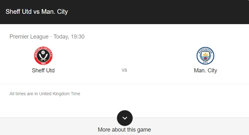 Sheffield United vs Manchester City Preview & Info
