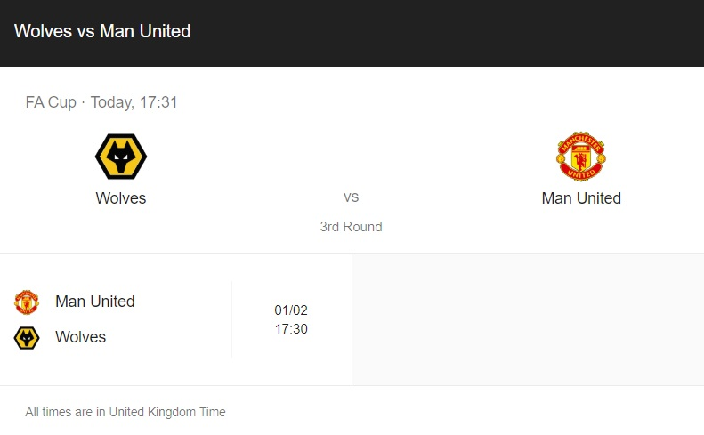 Wolves vs Manchester United Preview & info