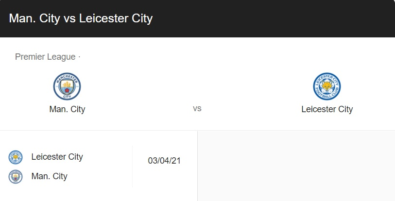 Manchester City vs Leicester City Live